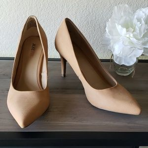 JustFab pointy toe tan heels.
